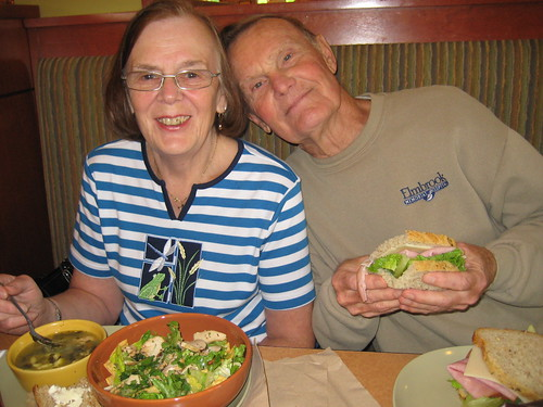 mom and dad at Panera