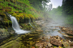 Au Train River , Michigan's Upper Peninsula (Michigan Nut) Tags: longexposure rain fog creek geotagged waterfall moss rocks michigan wideangle springs autrainriver algercounty michigannutphotography nikon1635mmf4gedafsvrwideanglezoomlens