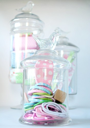 Pretty filled bird glass jars