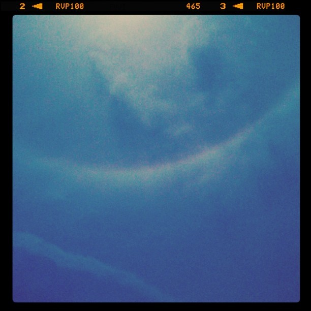 It's hard to tell but that is a rainbow ring around the sun! It was amazing, and slightly frightening...