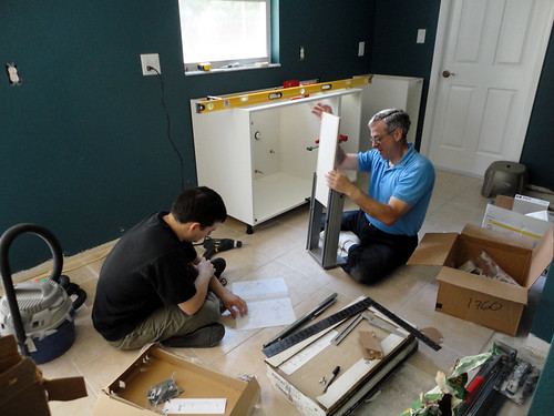 Adam and his dad, building drawers