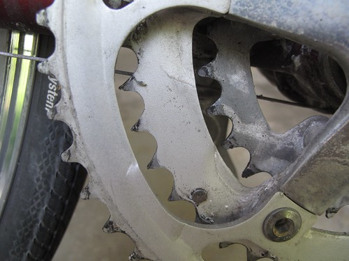 Worn middle chainring
