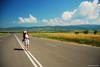 on the road (.:: Maya ::.) Tags: road sky woman girl field clouds path divine bulgaria rila mayaeye mayakarkalicheva маякъркаличева wwwmayaeyecom