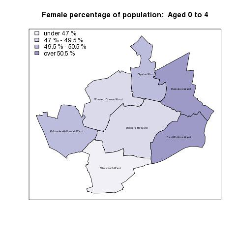 Female percentage of population:  Aged 0 to 4