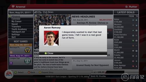 FIFA 12 Xbox: Career Mode Arsenal Player profile
