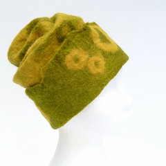 (LucAndLex) Tags: green wool hat yellow warm handmade unique ooak funky felt merino wearableart fiberart ecofriendly felthat
