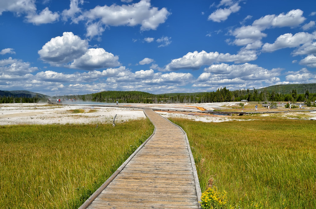 On the boardwalk in Black Sand Basin, Yellowstone