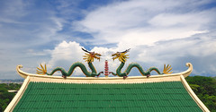 Twin Dragons, Taoist Temple, Cebu (Philippines) (badzmanaois) Tags: green water monster tongue gardens garden giant asian temple fire meditate dragon symbol head reptile buddhist philippines praying chinese hills figure cebu beverly serpent heavens fertility dao legend tao myth symbolic breathing mythical beneficent