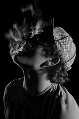 IMG_1141 (mikeayers92) Tags: lighting boy portrait blackandwhite guy texture boys hat sunglasses portraits dark studio shadows patterns smoke guys smoking badlighting