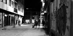 Salamanca (Peter Gutierrez) Tags: street old city light urban bw espaa white black streets film blanco wet public rain stone night lights evening noche town photo calle spain ancient europe mediterranean european nocturnal time 21 nacht pavement stones south centre negro centro ciudad center scene historic cobblestones cobble cobblestone southern sidewalk peter spanish nighttime gutierrez urbano salamanca viejo nocturne notte calles 2x1 piedras acera escena pavimento nui guijarros guijarro pblicas espagnol adoqun peter histricos gutierrez empiedran