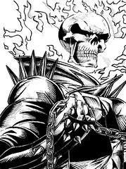 Ghost Rider: Ink illustration (noelevz) Tags: illustration ink drawing marvel handdrawn ghostrider