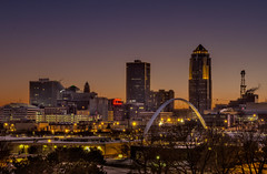 Des Moines at Dusk (w4nd3rl0st (InspiredinDesMoines)) Tags: city blue winter sky urban cold skyline night umbrella canon river evening midwest perfect arch purple outdoor dusk hometown magenta iowa clear 7d cloudless travelers desmoines pedestrianbridge twighlight redumbrella emc 801grand perfectlight 2013 1585 desmoinesisnotboring desmoinesriverwalk bestvantagepoint bestviewofdesmoines