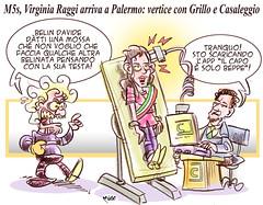 CasaGrilloRaggi (Moise-Creativo Galattico) Tags: editoriali moise moiseditoriali editorialiafumetti giornalismo attualit satira vignette grillo davidecasaleggio raggi palermo m5s meeting