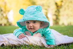 Fall in Laramie (bflinch1) Tags: baby babygirl babyportrait fall laramie washingtonpark wyoming ellie smile cute cutie 2monthsold nikon primelens 35mm warm staywarm october grass
