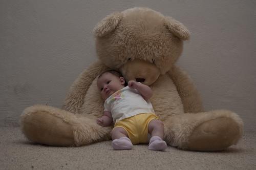 Audrey & bear, 2 months