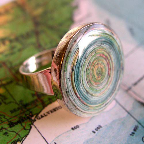 vintage map ring