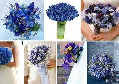 Blue Bridal Wedding Bouquets (One White Dress) Tags: flowers blue wedding inspiration flower color colour floral beautiful photo pretty photos theme florist bouquet weddings bridal ideas stylish posy centrepiece
