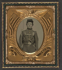 [Unidentified young soldier in Union uniform with bayoneted musket, knapsack, and knife] (LOC) (The Library of Congress) Tags: soldier uniform unitedstates military civilwar american libraryofcongress americancivilwar uscivilwar xmlns:dc=httppurlorgdcelements11 dc:identifier=httphdllocgovlocpnpppmsca26889 soldiersnpm
