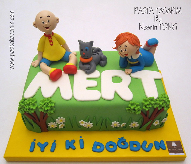 CAILLOU AND ROZI AND GILBERT CAKE - MERT BIRTHDAY