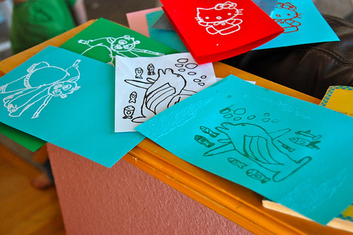 kid made silk-screen cards
