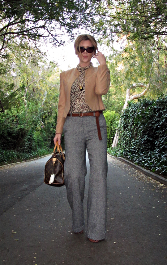 cat eye sunglasses+camel jacket+salt and pepper tweed wide leg pants+leopard print t shirt+louis vuitton bag+long belt+sharp