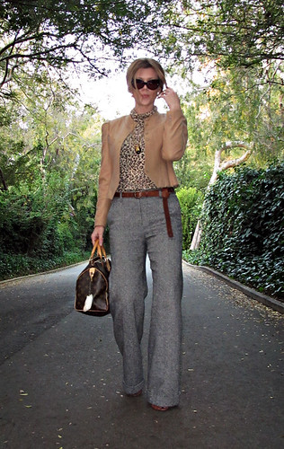 fashion outfit vintageclothes whatiwore vintagejewelry laceupboots louisvuittonbag camelcoat leopardprinttop cateyesunglasses cameljacket tweedpants widelegtrousers longbelt 1970sgivenchy woolcameljacket
