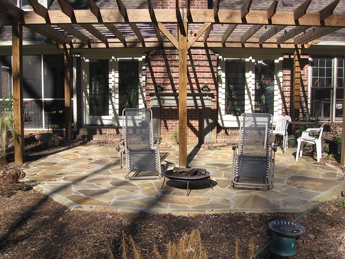 rear flatstone patio on a home in southwest Raleigh, North Carolina