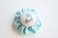 yoyo pin (wildolive) Tags: pin brooch button yoyo embroidered