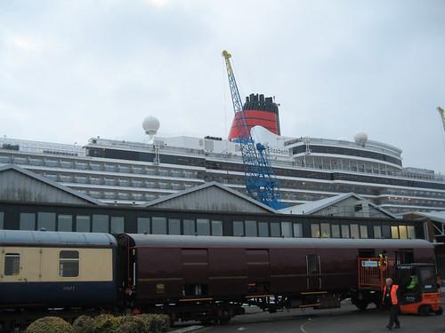 Cruise Train beside Cunard's Queen Elizabeth - Baggage Car