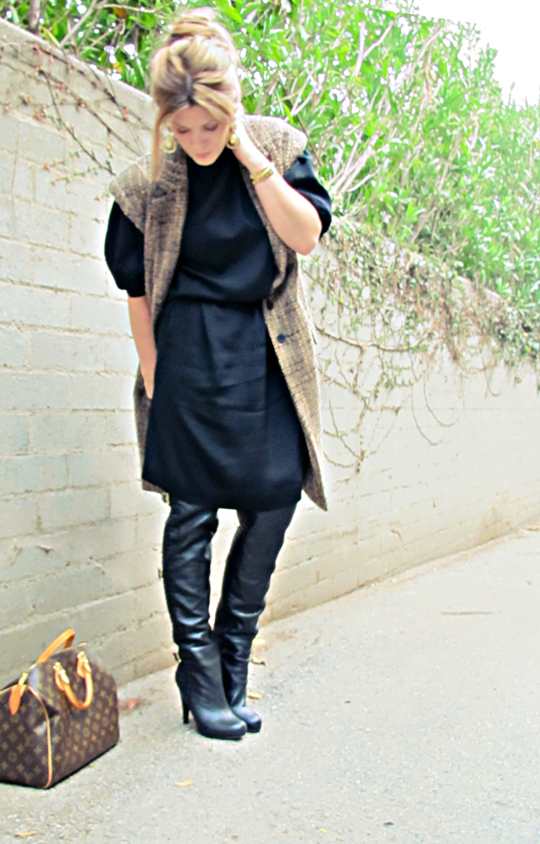 black vintage dress with over the knee black boots and sleeveless coat+tones