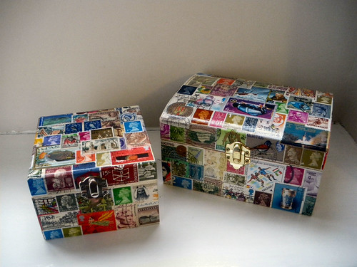 Decoupaged Stamp boxes