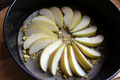 Upside Down Pear & Pistachio Cake - before