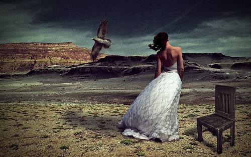 フリー写真素材, グラフィックス, フォトアート, 人と風景, 女性, 後ろ姿, ウエディングドレス,