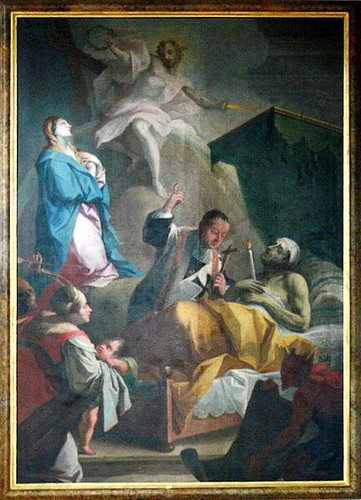 Painting in a German church of a deathbed scene
