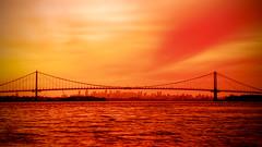 New York City (mudpig) Tags: nyc newyorkcity bridge sunset sky newyork skyline clouds geotagged cityscape bronx eastriver gothamist hdr whitestonebridge mudpig stevekelley
