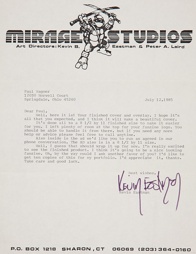 "MIRAGE STUDIOS PRESENTS ""Gobbledygook"" #1 // Eastman's accompanying  cover letter to Paul   (( 1984 )) [[ Courtesy of Heritage Auction Galleries ]]"