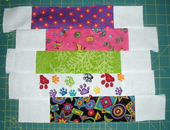 Sew the strips together as arranged