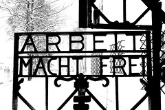 Arbeit Macht Frei (Benn Glazier) Tags: camp blackandwhite bw germany bavaria death thirdreich nazi worldwarii murder dachau concentrationcamp naziparty nationalsocialistparty humanterror kommandanttheodoreicke