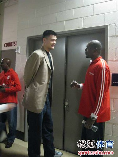 December 31st, 2010 - Yao Ming and Hakeem Olajuwon talk in the hallways of Toyota Center after the Rockets-Raptors game