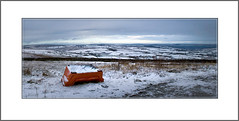 Two Piece and Tranqullity. (pete_tography) Tags: uk winter red england panorama abandoned walking landscape outdoors countryside chair walks view random seat yorkshire panoramic couch sofa westyorkshire oxenhope petecarroll petercarroll randomabandoned petetography