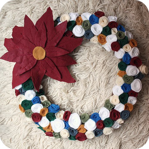 Poinsettia and felt flower wreath