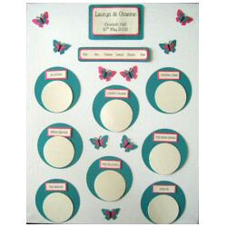 Teal and fuchsia table plan