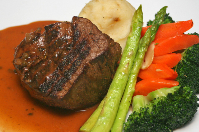 The Chops Grille Filet Mignon is a 10-ounce thick cut from the tenderloin