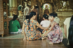 girl in the house of Buddha (Xiangk) Tags: travel film girl 35mm religious temple photography pagoda focus asia minolta buddha shwedagon yangon burma buddhist prayer young ceremony manual srt101 rangoon
