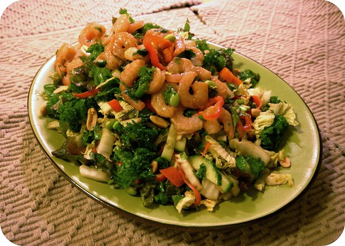 Monchichi Salad with ginger-hoisin shrimp