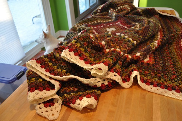 Dec. 28-Giant Granny Square done-63 x 69 inches in Jojoland Rhythm 100% wool, color # M24 and 002 (natural white)-4