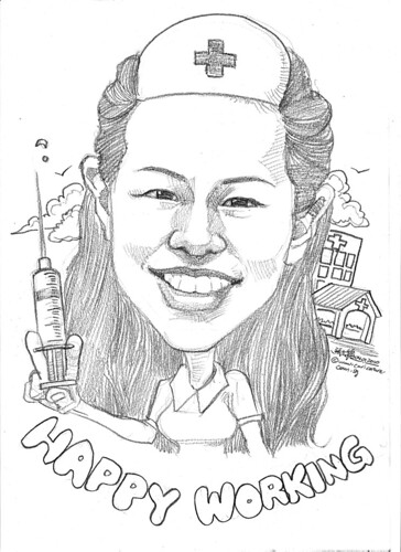 Nurse caricature in pencil - 1