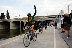 Waving Winner (Pedestrian Photographer) Tags: california ca woman bike cali female cyclists losangeles los cyclist angeles walk sunday january wave stairway fave southern socal bicyclist waving northeast bicyclists nela beerwalk 2011