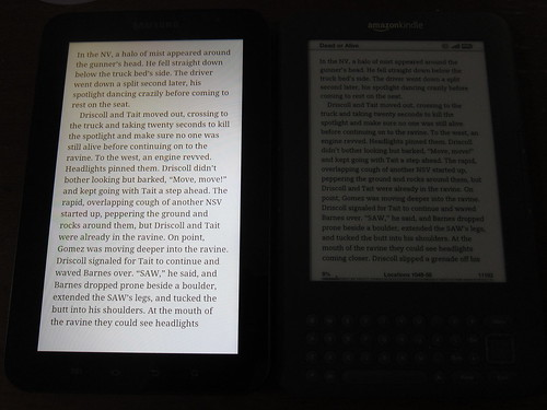 Galaxy Tab vs Kindle in the Dark
