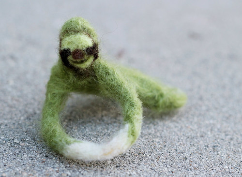 Green Felted Sloth!